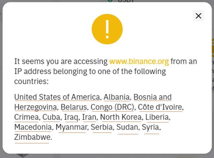 کشورهای ممنوعه در بایننس